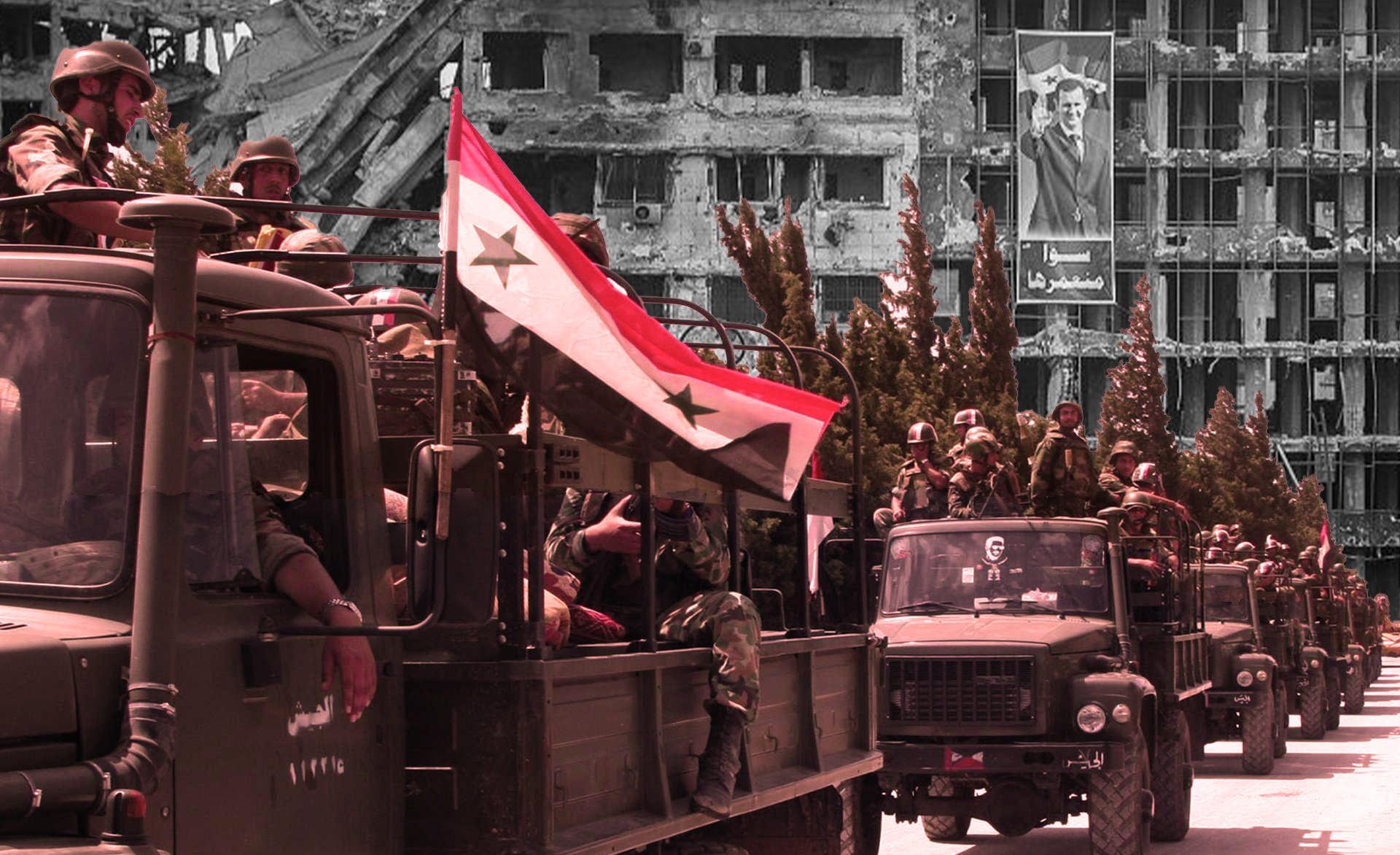 صورة تعبيرية لتعزيزات عسكرية لجيش النظام يظهر خلفها مبنى مدمر تعلوه صورة بشار الأسد (سوريا على طول)