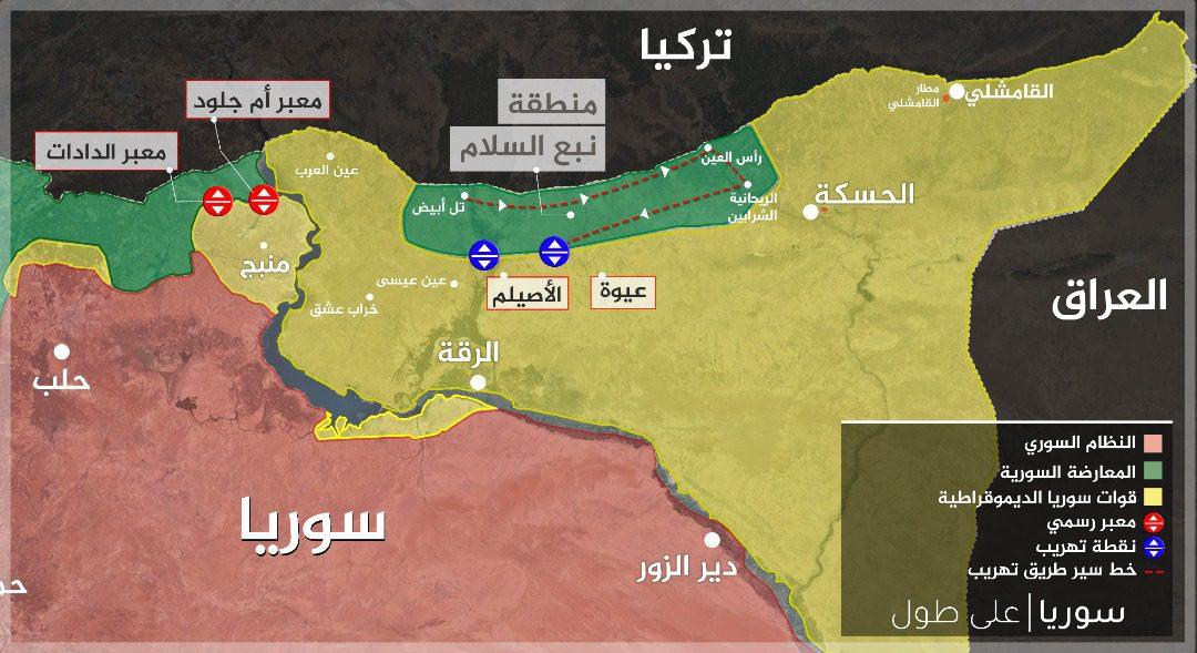 """خارطة توضح أماكن بعض المعابر غير الرسمية في منطقة نبع السلام، شمال شرق سوريا، بين الجيش الوطني و""""قسد"""""""